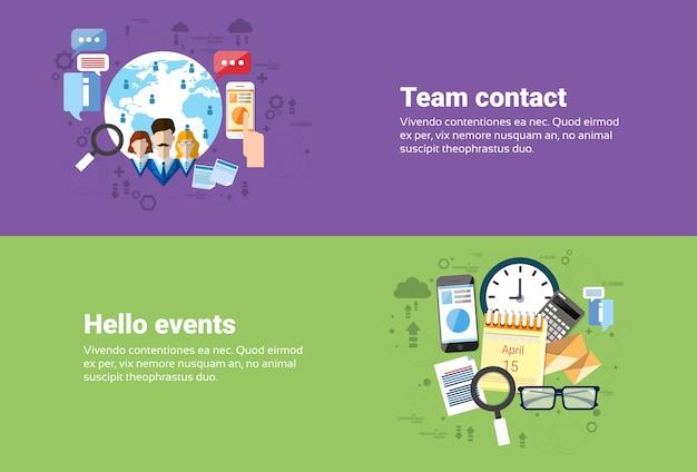 Cooperação de trabalho em equipe, calendário eventos negócios web banner ilustração vetorial plana