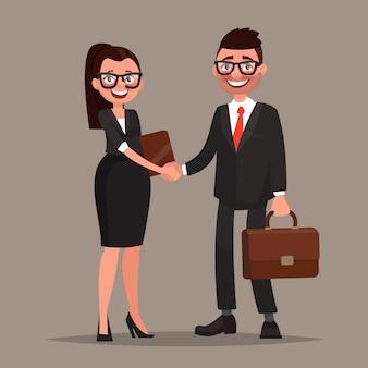 Cooperação empresarial. aperto de mão de dois parceiros de negócios. ilustração