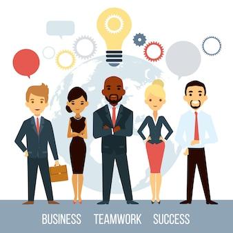 Cooperação empresarial de pessoas no mundo inteiro