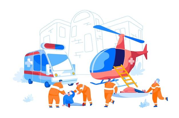Cooperação entre o serviço de resgate aéreo e o serviço de emergência médica em terra. personagens paramédicos carregam maca com o paciente para o vagão da ambulância, evacuação de pessoas. desenho animado