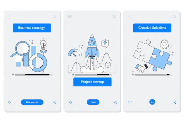 Cooperação na tela da página do aplicativo móvel de embarque