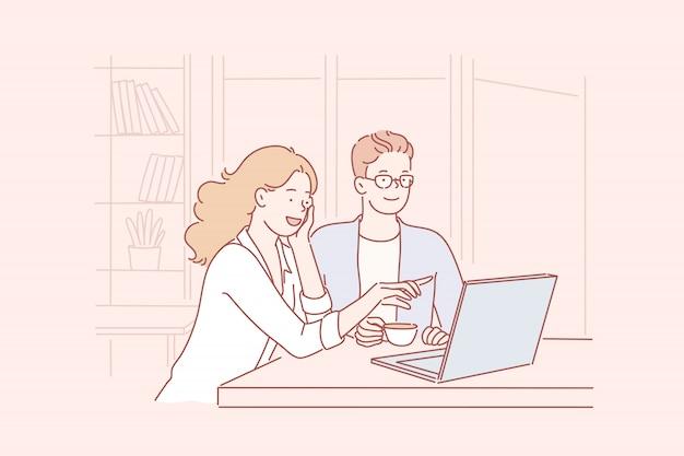 Cooperação, negócios, loja online