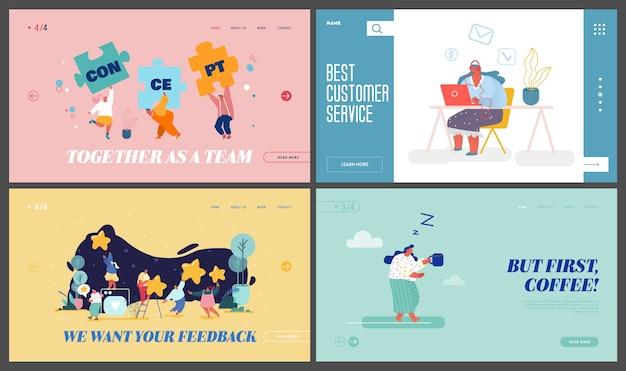 Cooperação no trabalho em equipe, serviço de suporte ao cliente, feedback, conjunto de páginas de destino do site da hora do café.