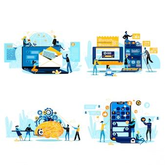 Cooperação para o sucesso, conjunto de pessoas de negócios de trabalho em equipe isolado no branco