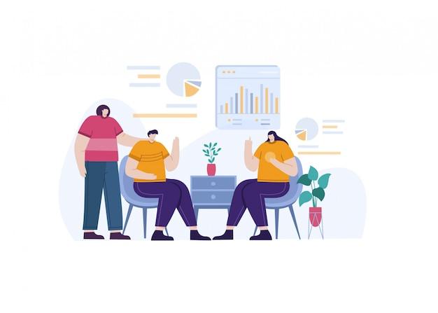 Cooperar com negócios e investimentos na ilustração do conceito