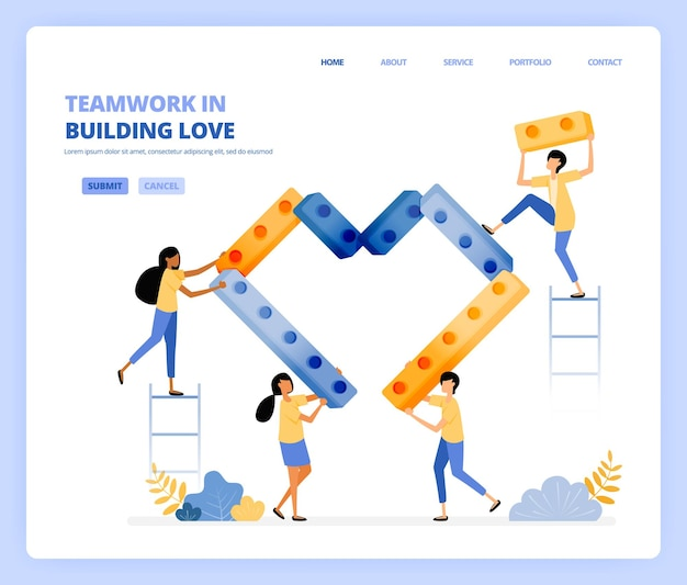 Cooperem uns com os outros na construção de corações, trabalho em equipe e relacionamentos. o conceito de ilustração pode ser usado para página de destino