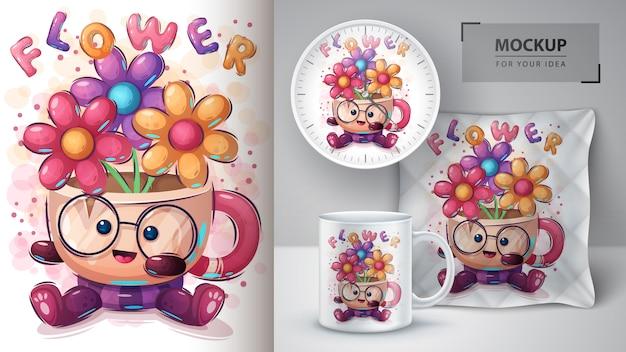 Copa com poster de flores e merchandising