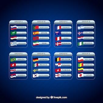 Copa de futebol com diferentes grupos