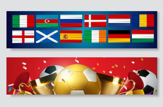 Copa de futebol, conjunto de banner de campeonato de futebol
