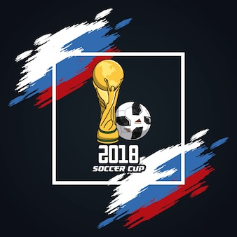 Copa do mundo de futebol nas cores da Rússia