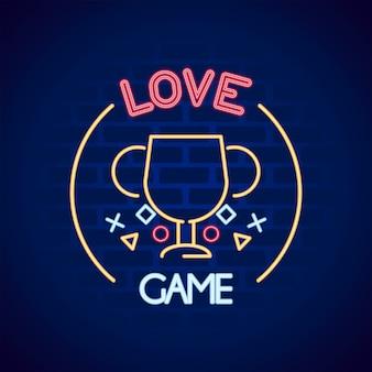 Copa do troféu com botões de videogame na ilustração do ícone de estilo neon de parede