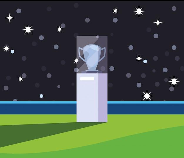 Copa do troféu de futebol com luzes do estádio