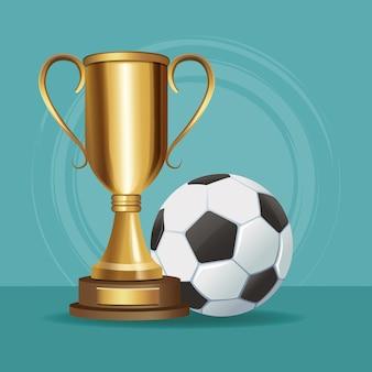 Copa do troféu de futebol e bola