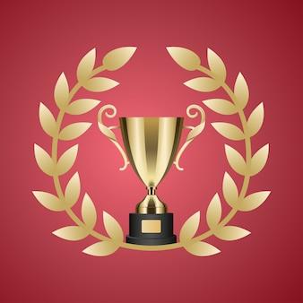 Copa do troféu de ouro e coroa de louros