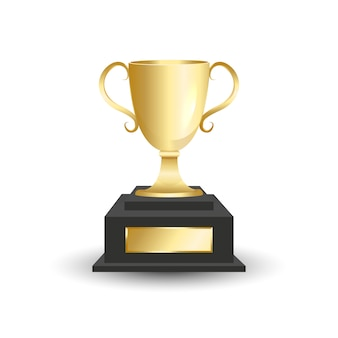 Copa do troféu de ouro isolada no fundo branco.