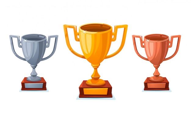 Copa do troféu de ouro, prata e bronze em estilo cartoon.