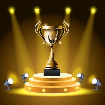 Copa do troféu de prêmios de filmes no pódio Vetor Premium