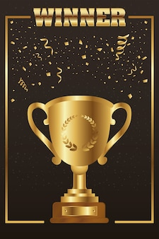 Copa do troféu de vencedor dourada com moldura quadrada de palavra