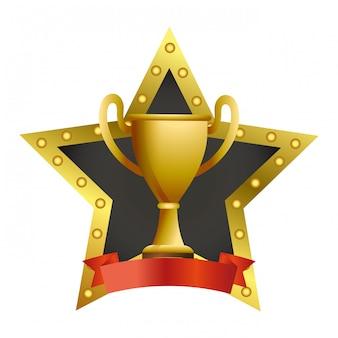 Copa do troféu em estrelas emblen e banner de fita em branco