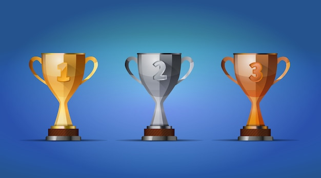 Copa dos vencedores prêmio para primeiro, segundo e terceiro vencedores posição sobre um fundo azul