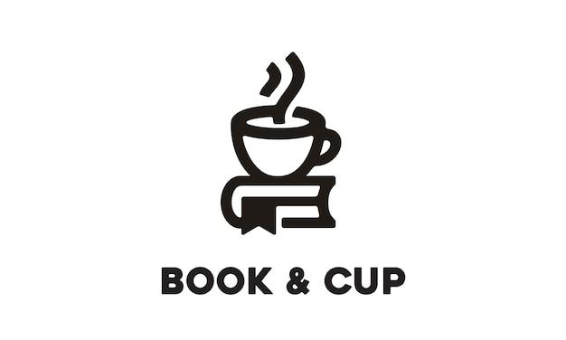 Copa e livro design de logotipo
