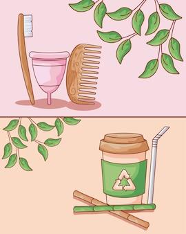 Copa menstrual com conjunto ecológico