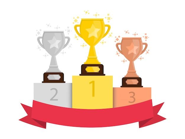 Copas para os vencedores. taça de ouro, prata e bronze.