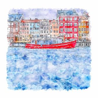 Copenhagen dennmark esboço em aquarela.