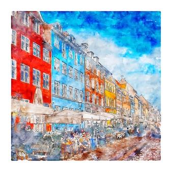 Copenhagen dinamarca ilustração em aquarela de esboço desenhado à mão