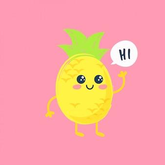 Cópia bonito da fruta do abacaxi. cartão da cópia do verão ou ilustração na moda do t-shirt.