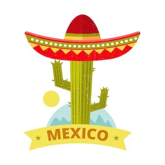 Cópia colorida mexicana do vintage do sombreiro e do cacto do grunge brilhante