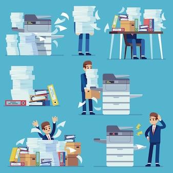 Copiadora de documentos de escritório. impressora imprimindo papéis de escritório, homem com copiadora quebrada.