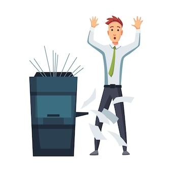 Copiadora de documentos de escritório. o trabalhador de escritório imprime documentos na copiadora.