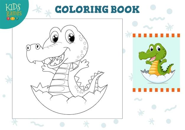 Copiar e colorir a imagem, exercício. pequeno crocodilo engraçado dos desenhos animados para desenhar e colorir jogo para crianças pré-escolares