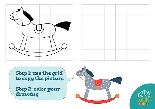 Copiar e colorir ilustração de imagens, exercício.