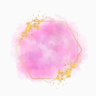 Copiar espaço aquarela moldura dourada
