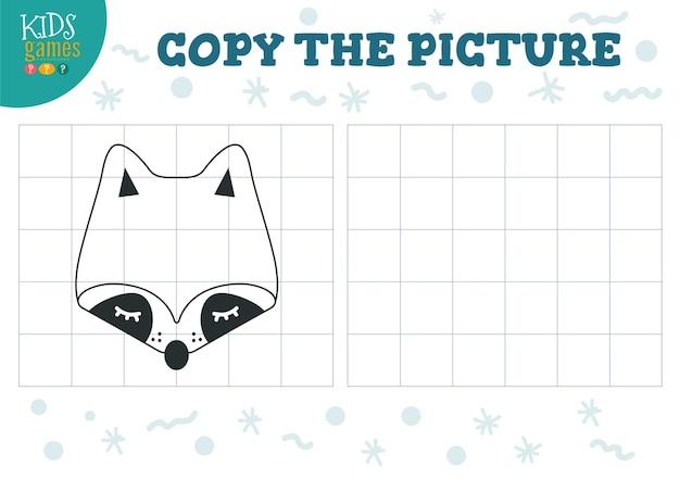 Copiar ilustração vetorial de imagem jogo educativo para crianças em idade pré-escolar contorno de desenho animado guaxinim e cabeça para desenho