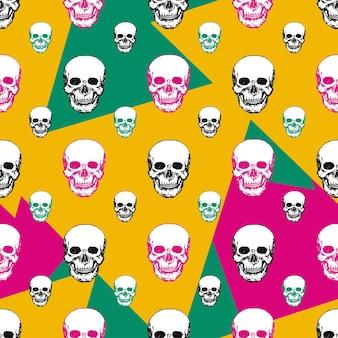 Cópias coloridas dos crânios. padrão de crânio sem costura.