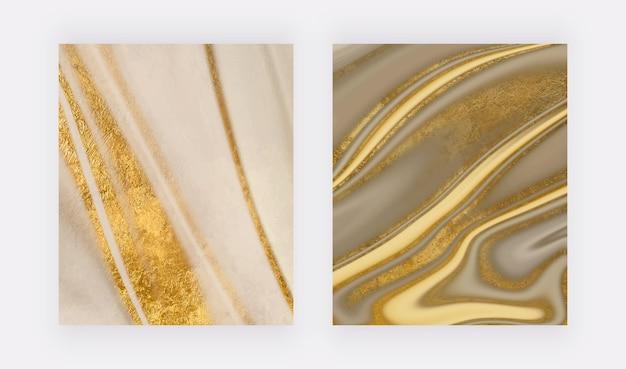 Cópias da arte da parede de mármore líquido com glitter dourado fundos abstratos do vetor