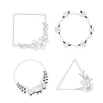 Copie a coleção desenhada à mão com moldura floral