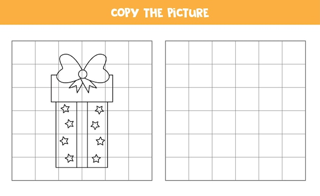 Copie a foto do presente de natal. jogo educativo para crianças. prática de caligrafia. Vetor Premium