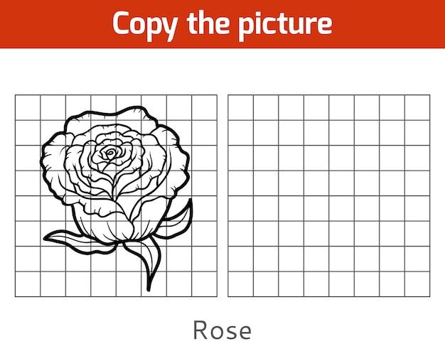 Copie a foto, jogo educativo para crianças, rose
