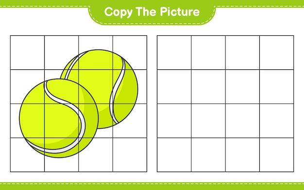 Copie a imagem copie a imagem da bola de tênis usando linhas de grade jogo educativo para crianças