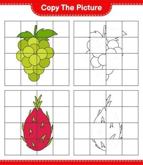 Copie a imagem, copie a imagem de frutas usando linhas de grade. jogo educativo para crianças, planilha para impressão