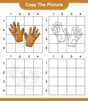 Copie a imagem copie a imagem de luvas de golfe usando linhas de grade jogo educativo para crianças