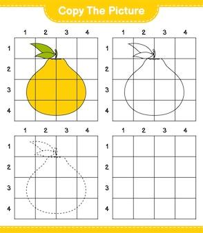 Copie a imagem, copie a imagem de ugli usando linhas de grade. jogo educativo para crianças, planilha para impressão