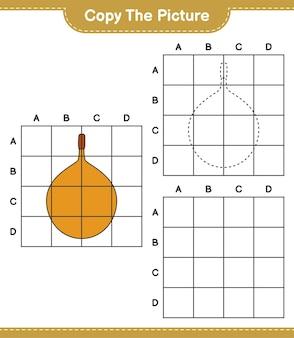 Copie a imagem, copie a imagem de voavanga usando linhas de grade. jogo educativo para crianças, planilha para impressão Vetor Premium