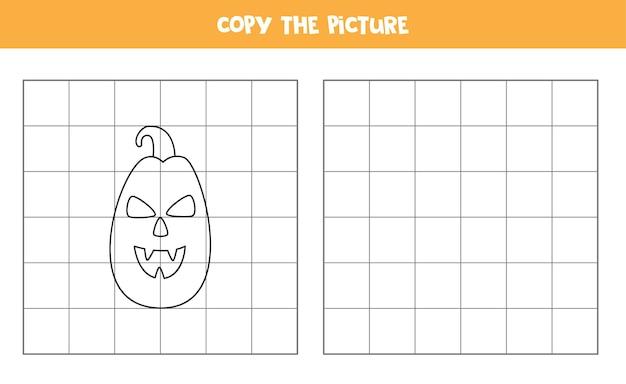 Copie a imagem da abóbora de halloween assustadora. jogo lógico para crianças.
