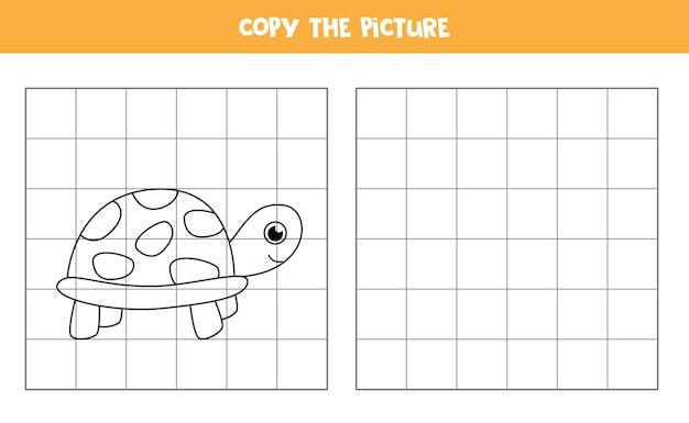 Copie a imagem da tartaruga bonito dos desenhos animados. prática de habilidades de escrita para crianças.
