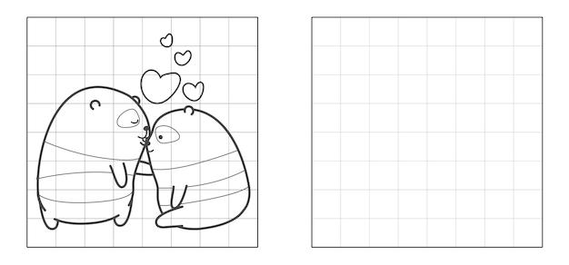 Copie a imagem de um casal de pandas em desenho animado.